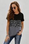 Camiseta negra de manga corta con estampado de leopardo en bloques de color