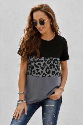 Черная футболка с короткими рукавами в стиле колор-блок с леопардовым принтом