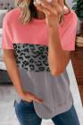 Camiseta de manga corta con estampado de leopardo en bloques de color