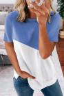 Camiseta colorblock con cuello redondo azul cielo