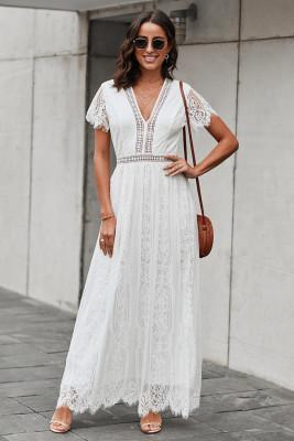 الأبيض ملء قلبك الرباط فستان ماكسي