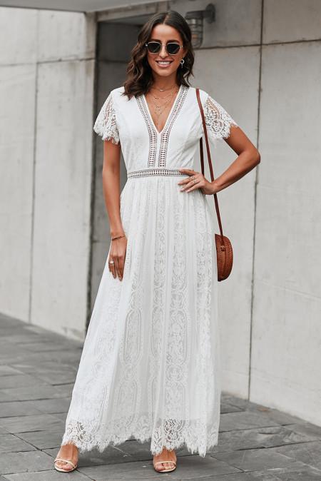 Vestido largo de encaje blanco de Your Heart