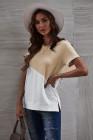 Camiseta color albaricoque con cuello redondo