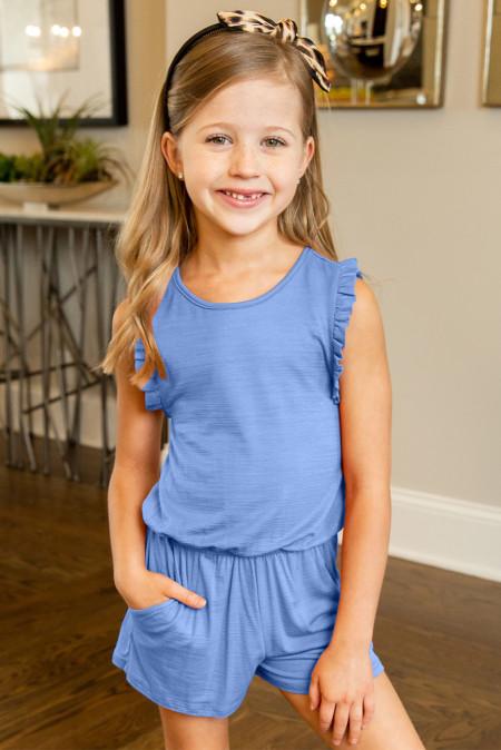 أزرق سماوي مكشكش بدون أكمام رومبير للفتيات الصغيرات