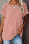 Camiseta rosa con cuello redondo jaspeado