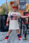 الولايات المتحدة الأمريكية العلم طباعة ليتل بنات تي شيرت اللباس