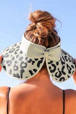 قبعة شاطئ القش الفوضوية المشمش ذات الحواف العريضة