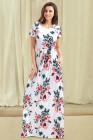 جيب تصميم قصيرة الأكمام فستان ماكسي الأزهار البيضاء