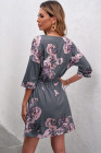 فستان تونيك لون رمادي بنقشة زهور