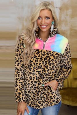 Sudadera de felpa tie-dye con empalme de leopardo