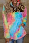 Mehrfarbiges Batik-Fleece-Sweatshirt mit Leoparden-Spleiß