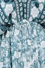 Зеленое мини-платье с винтажным принтом в богемном стиле с v-образным вырезом и рукавами 3/4