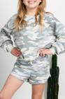 Camo Print Kinder-Langarm-Oberteil und Shorts mit elastischer Taille, Hosen-Set
