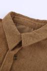 Коричневая вельветовая рубашка с карманом на пуговицах