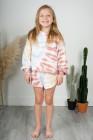 Batik-Print Kinder-Langarm-Oberteil und Shorts mit elastischer Taille im Set