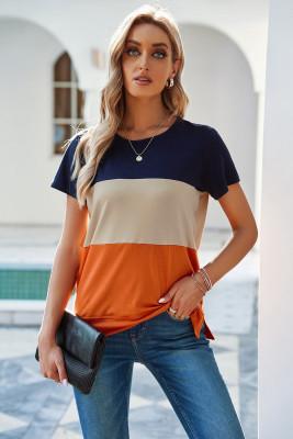 Оранжевая футболка с контрастными цветными блоками