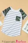 Camiseta con parche de bolsillo de camuflaje a rayas verdes