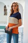 Camiseta naranja con bloques de color en contraste