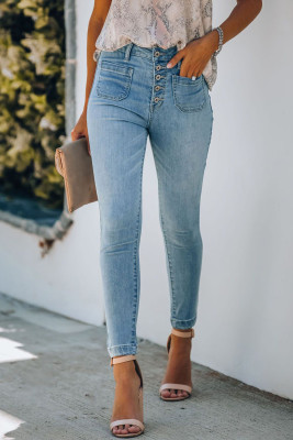 Голубые джинсы скинни с карманами на пуговицах