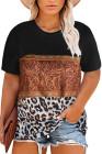 Camiseta de talla grande con diseño de bloques de color de empalme de punto de ante con estampado de mármol