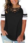 Camiseta negra cruzada con cuello en V y manga raglán de talla grande