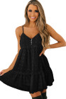فستان قصير أسود منقط بولكا