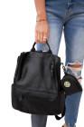 حقيبة ظهر كاجوال من الجلد النباتي الأسود
