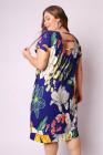 Vestido a media pierna con estampado floral y tiras ahuecadas tallas grandes azul