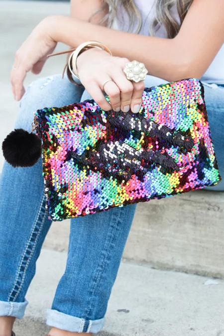 حقيبة مستحضرات التجميل الترتر متعددة الألوان
