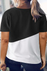Camiseta negra con cuello redondo y bloques de color de talla grande