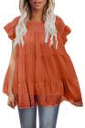بلوزة بأكمام رفرفة بنمط Babydoll منقطة باللون البرتقالي