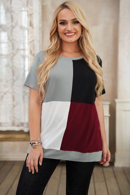 Camiseta color block con cuello redondo y talla grande en rojo vino