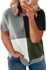 Camiseta verde con cuello redondo y bloques de color de talla grande
