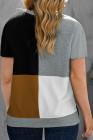 Camiseta caqui con cuello redondo y bloques de color de talla grande