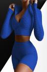 ملابس رياضية باللون الأزرق من قطعتين بسوستة صلبة