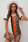 Camiseta con estampado mixto de leopardo en bloques de color
