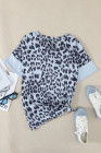 Camiseta color block con estampado de leopardo feroz celeste