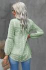 Blusa volantes cuello partido encaje ahueca hacia fuera manga abullonada lunares verde