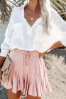 تنورة قصيرة بطيات توتو كورية وردية بخصر مرتفع