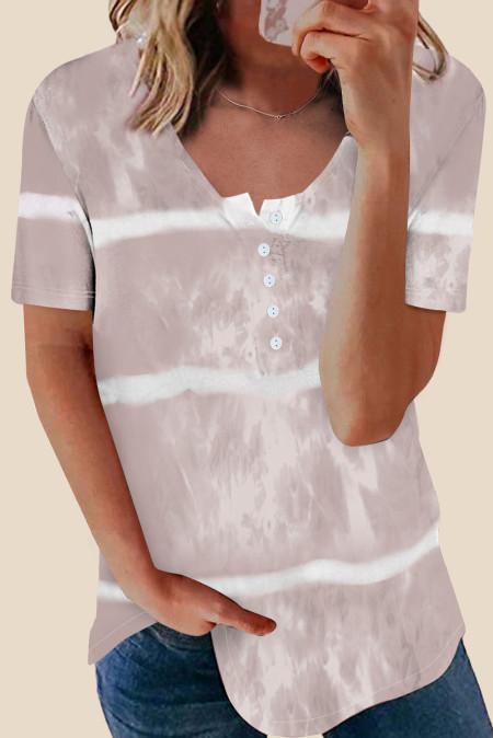 Top de manga corta teñido anudado con botones albaricoque