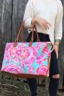 حقيبة عطلة نهاية الأسبوع بطبعة زهور وردية