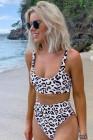 Bikini de cintura alta con bralette de leopardo