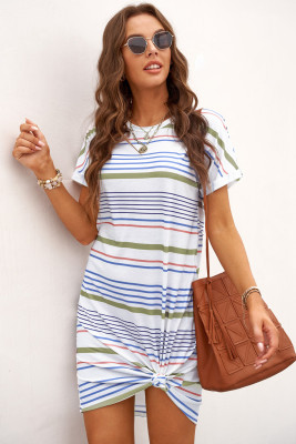 半袖ストライプTシャツミニドレス