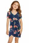 فستان بناتي قصير برقبة على شكل V وطبعة زهور زرقاء
