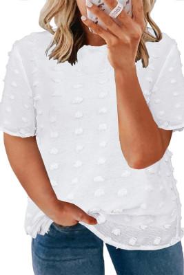 Белый топ с короткими рукавами и текстурой в горошек большого размера белого цвета