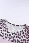 Camiseta rosa con estampado de leopardo feroz color block