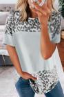 Camiseta gris con estampado de leopardo feroz color block