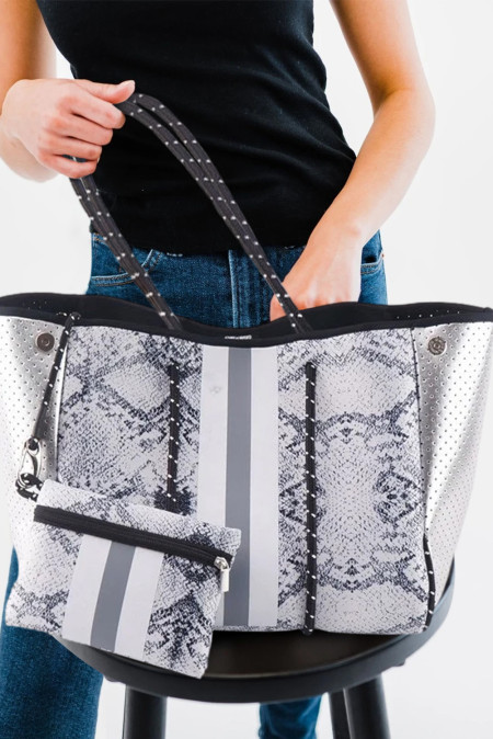 حقيبة حمل رقعة جلد الأفعى مع محفظة مطابقة