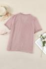 Top rosa de manga corta con cuello en V y lunares suizos de encaje