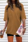 Camiseta extragrande con cuello redondo marrón